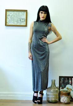 Vintage 90's Silver Sparkly Maxi Dress 12 14 MXI633 | Bang Bang | ASOS Marketplace
