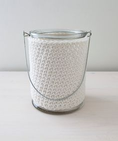 Big white crocheted candle holder / lantern - made by Home sweet home design (etsy shop)