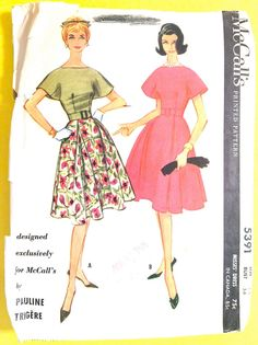 Visit Fancywork Patterns at https://www.etsy.com/shop/Fancywork?ref=shopsection_shophome_leftnav **********************************************************************************  McCalls 5391 vintage 1950s or early 60s sewing pattern Designer Pauline Trigere  Fitted Bodice Cape-Like Sleeves Seven Gore Flared and Pleated Skirt Two-Piece Under Arm Gussets Entire Dress Lined with Organdy  Pattern is cut and complete with all pieces and instructions. This is a printed p...