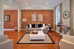 Love exposed brick walls! - I want one in the kitchen, but thinking now it would be cool to stretch into the dining room too