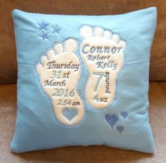 Personalised Birth Details Print/Frame Picture Christening Gift Retro New Baby Embroidered Baby Blankets, Embroidered Gifts, Book Pillow, Reading Pillow, Machine Embroidery Projects, Free Machine Embroidery Designs, Pillow Embroidery, Brother Embroidery, Baby Sewing Projects