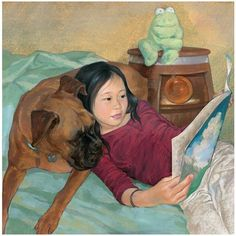 Cute Girl & her Dog Reading in Bed ~ Lin Wang - professional childrens Illustrator