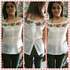 Gracias a nuestra modelo! Camisa bordada con diseño de flores! #materialesangie #vestidostipicos #ve - materialesangie Mexican Top, Sewing Collars, Lace Homecoming Dresses, Blouse Styles, Kurti, Fashion Dresses, Ruffle Blouse, Clothes For Women, Womens Fashion
