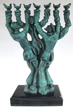Amazing Judaica Bronze Sculpture Dancing Jews Forming Human Menorah SIGNED yqz | eBay