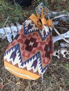 Vtg tribal southwest Kilim wool leather backpack bag hippie boho festival carpet #Handmade #Backpack