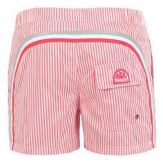 STRIPED SWIM SHORTS WITH ELASTIC WAIST AND BUTTON - Short striped boardshorts with the three classic rainbow bands on the back, elastic adjustable waistband, button fastening and zip fly, internal mesh, two front pockets, a Velcro back pocket, Sundek logo on the back. #mrbeachwear #stripes #summer #fashion #men #style #boardshort #sun #onlineshop #2014