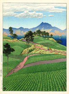 hanga gallery . . . torii gallery: Mt. Onsengatake from Amakusa by Kawase Hasui