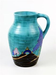 A Clarice Cliff Bizarre `Inspiration` Isis Jug, inscribed `Inspiration Bizarre by Clarice Cliff, Art Deco Colors, Clarice Cliff, Clay Design, Ceramic Artists, Decorative Objects, Pottery Art, Archaeology, Art Nouveau, Glass Art