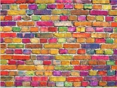 Picture of color brick wall, multi-colored masonry. rainbow background stock photo, images and stock photography. Brick Wall Gardens, Brick Garden, Brick Wall Background, Rainbow Background, Garage Art Studio, Painted Brick Walls, Rainbow Aesthetic, Paint Stripes, Rainbow Wall