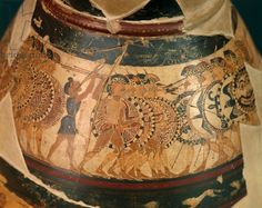 Chigi Olpe, ca 635 BC, polychrome black-figure pottery in late protocorinthian style, from Veio, Italy. Height 28cm. Greek Civilization, 7th Century BC. | The first representation of the hoplite phalanx on pottery, appears on this vase.