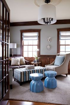 sea of blue beach style family room new york jules duffy designs gray blue with dark wood trim - Dining Room Paint Colors Dark Wood Trim