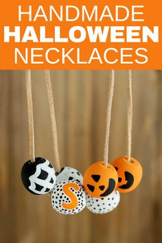 Make your own handmade Halloween necklaces with a few simple supplies. #halloweennecklaces #halloweencrafts