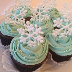 cupcakes for Christmas, coffee chocolate flavour, with royal icing snowflakes