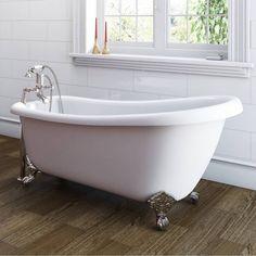 The Bath Co. Winchester slipper freestanding bath with chrome claw feet 1700 x 730 Winchester, Victorian Bath, Bath Screens, Traditional Baths, Roll Top Bath, Bath Shower Mixer, Old Kitchen, Modern Bathroom Design, Clawfoot Bathtub