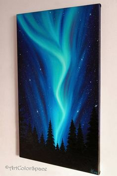 Original painting Northern Lights by ArtColorSpace. ➢ABOUT THIS PAINTING The painting handmade executed professional oil paints on canvas. The sides of the canvas are painted in the background painting. Looking at this painting you can be admired at how inventive Mother Nature. So, Aurora Borealis is a natural phenomenon, which is most known as the Northern lights. The glow of the upper layers of the atmospheres of planets that have a magnetosphere, as a result of their interaction with…