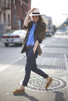 LOVE that color of Toms, and again, need a pair of navy trousers like hers!! Marina Munoz on StreetPeeper.