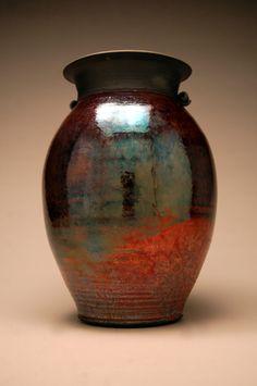Large Raku Vase - Raku Pottery - Copper Vase - Metallic - Handmade Art
