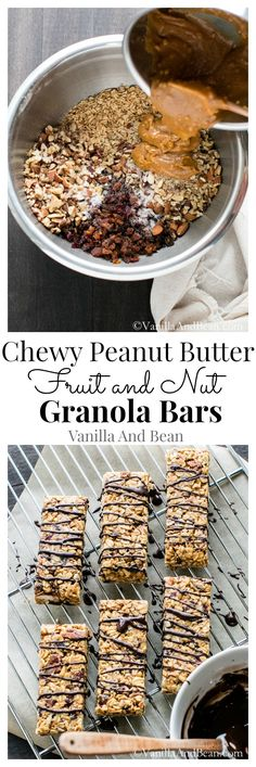 Vegan Chewy Peanut Butter Fruit and Nut Granola Bars: An easy grab and go snack for your healthy lifestyle! Healthy Bars, Healthy Vegan Snacks, Vegan Sweets, Vegan Desserts, Vegan Recipes, Snack Recipes, Dessert Recipes, Cooking Recipes, Muesli