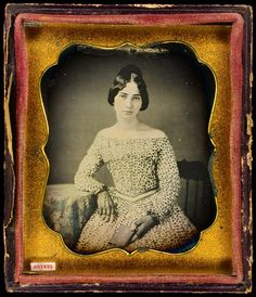 This daguerreotype is the earliest known portrait of (Sarah) Melinda Bailey (1830-1889), probably taken around 1849.