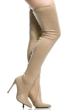 Nude Faux Suede Thigh High Pointed Toe Boots @ Cicihot Heel Shoes online store sales:Stiletto Heel Shoes,High Heel Pumps,Womens High Heel Shoes,Prom Shoes,Summer Shoes,Spring Shoes,Spool Heel,Womens Dress Shoes