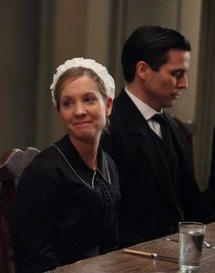 Downton Abbey servants: sweet Anna and evil Tom.