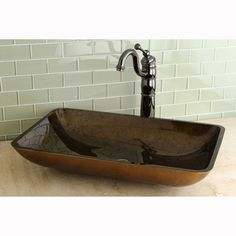 Kingston Brass Rectangle Copper (Brown) Tempered Glass Vessel Sink