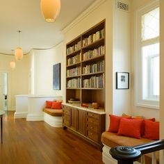 Hall Library With Window Seats / Pacific Heights Residence - transitional - hall - san francisco - Huang Iboshi Architecture, Inc