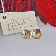 Ebay-jewellerymw-STUDS EARRINGS SWAROVSKI ELEMENTS RIVOLI GOLD PATINA F 8mm STERLING SILVER 925-$5.56