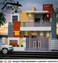 Introducing modern house exterior elevation by Er. Architect Design House, Duplex Design, Building Elevation, House Elevation, Front Elevation Designs, Unique House Design, Indian Homes, Modern Houses, Ground Floor