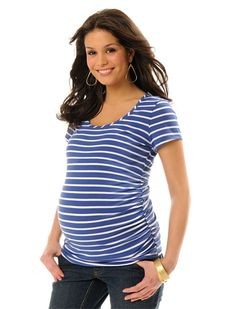 Sew just 2 strips of elastic to cheap t-shirt 1 size larger than your normal to achieve a ruched maternity top.