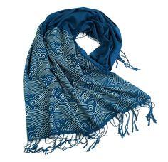 Crashing Waves scarf. Linen-weave pashmina