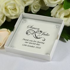 Single Coaster Gift Box with Printed Glass Coaster