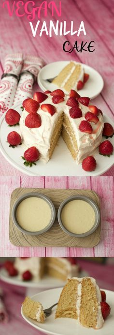 Vegan Vanilla Cake - Light, fluffy and dreamy! #vegan #dairy-free #lovingitvegan
