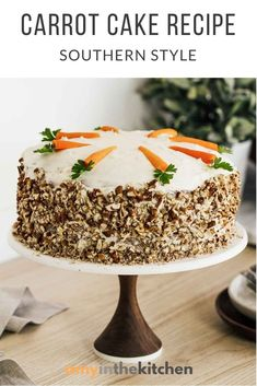 This Carrot Cake recipe is super moist, loaded with warm spices and topped with a homemade cream cheese frosting! The Best Carrot Cake Ever! Cupcakes, Cake Cookies, Cupcake Cakes, Homemade Carrot Cake, Best Carrot Cake, Carrot Cakes, Baking Recipes, Cake Recipes, Dessert Recipes