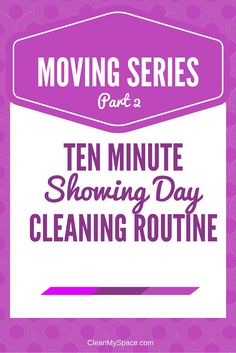 Spend ten minutes before prospective buyers come over and make your home sparkle! Here's a quick ten minute showing day cleaning routine. Moving Day, Moving Tips, Moving House, Deep Cleaning, Cleaning Hacks, Cleaning Routines, Cleaning Products, Clean My Space, Ten Minutes