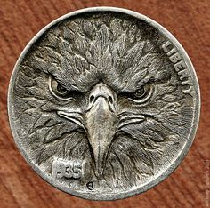 Hobo Nickels engraved by Aleksey Saburov 2011 Engraved Knife, Coin Design, Engraving Art, Hobo Nickel, Coin Collecting, Monet, Metal Art, Jewelry Crafts, Coins
