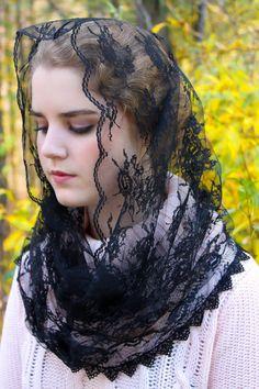 Black French Lace Infinity Style Chapel Veil Mantilla Latin Mass
