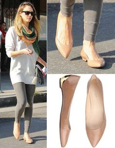 Jessica Alba's Nude Pointed Flats