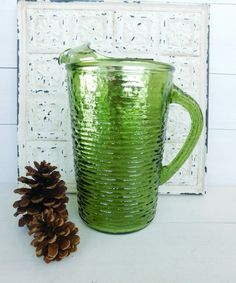 Vintage Anchor Hocking Soreno Avocado Green Pitcher by JunketteLove on Etsy