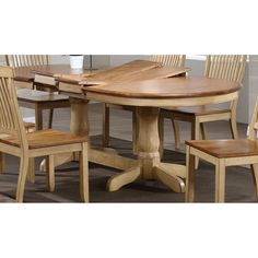 This is 42 inches wide  oval table with two self storing extentsion's that opens to 78 inches long with one extension, and 90 inches long with the second extension. Table is shown in a honey/sand two tone finish.