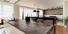 irish kitchen schol gets dekton trilium Apartment View, Urban Apartment, Big Kitchen, Kitchen Design, Kitchen Island, Hm Deco, Kitchen Countertops, Living Spaces, Living Area