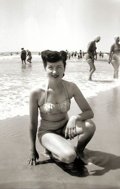Beach beauty [1940s] updo hairstyle victory rolls bathing suit bikini snapshot found photo candid 40s vintage fashion style