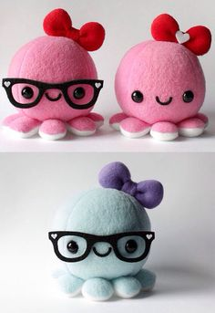 Pink glasses one me pink one Gabby blue one bella