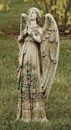 "Praying Angel Garden Statue with Floral Accents - 24"" : GAR1016"