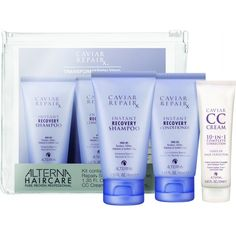 #Alterna Caviar RepairX Transformation Trio Kit- shampoo, conditioner and CC cream. £12.60 #shampoo #conditioner #cccream #giftset #gift #travelkit #haircare #hair