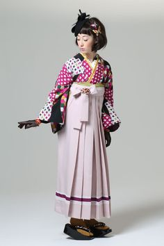 Komon kimono and hakama skirt, by Furifu designers, Japan. Image via Pinterest