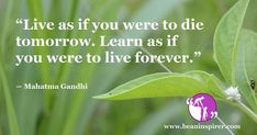 """""""Live as if you were to die tomorrow. Learn as if you were to live forever."""" ― Mahatma Gandhi"""