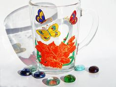 Red flower mug hand painted Lily coffee by StainedGlassHandmade