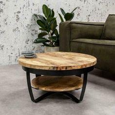 ≥ Industriële ronde salontafel Baldo hout 70 cm | OP=OP - Tafels | Salontafels - Marktplaats.nl