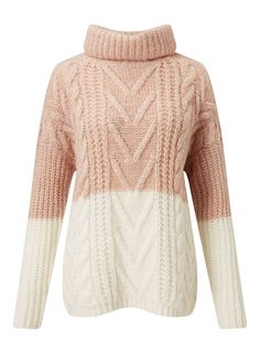 Miss Selfridge - Pink & Cream Cable Chunky Knitted Jumper Sweater